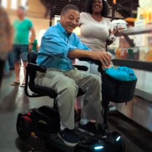 mobility scooter at the grocry store